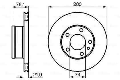 Вентилируемый тормозной диск на БМВ 7 'BOSCH 0 986 478 041'.