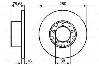 Тормозной диск на Мерседес Т2 'BOSCH 0 986 478 201'.