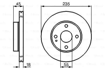 Вентилируемый тормозной диск на KIA AVELLA 'BOSCH 0 986 478 241'.