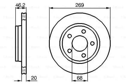 Вентилируемый тормозной диск на Ауди 200 'BOSCH 0 986 478 316'.
