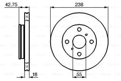 Вентилируемый тормозной диск на TOYOTA TERCEL 'BOSCH 0 986 478 438'.