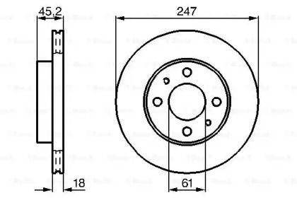 Вентилируемый тормозной диск на NISSAN PULSAR 'BOSCH 0 986 478 459'.