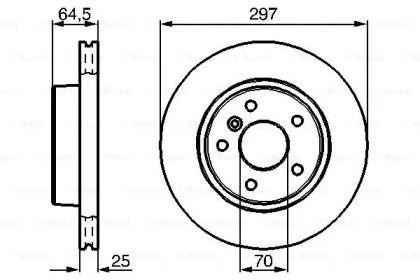 Вентилируемый тормозной диск на Рендж Ровер 'BOSCH 0 986 478 483'.