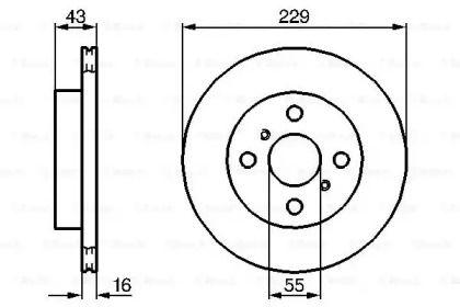 Вентилируемый тормозной диск на Тайота Старлет 'BOSCH 0 986 478 491'.