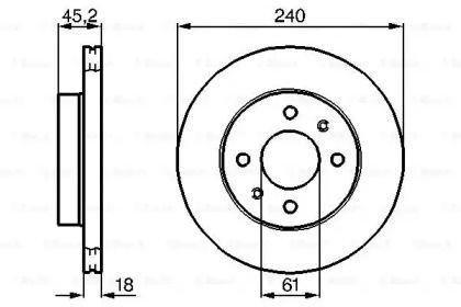 Вентилируемый тормозной диск на NISSAN SUNNY 'BOSCH 0 986 478 533'.