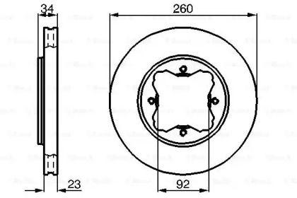 Вентилируемый тормозной диск на ROVER 600 'BOSCH 0 986 478 568'.