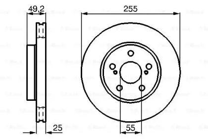 Вентилируемый тормозной диск на TOYOTA CELICA 'BOSCH 0 986 478 584'.