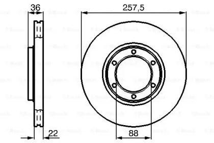 Вентилируемый тормозной диск на OPEL FRONTERA 'BOSCH 0 986 478 596'.