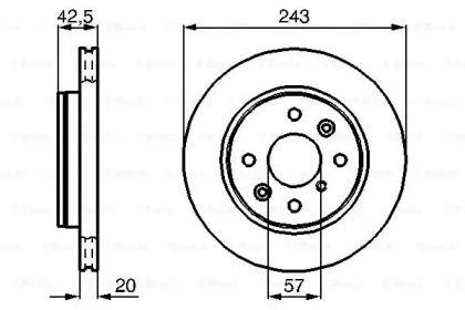 Вентилируемый тормозной диск на Киа Сефия 'BOSCH 0 986 478 659'.