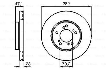 Вентилируемый тормозной диск на HONDA PRELUDE 'BOSCH 0 986 478 667'.