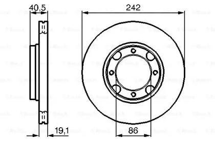 Вентилируемый тормозной диск на Хендай Пони 'BOSCH 0 986 478 674'.