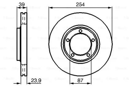 Вентилируемый тормозной диск на MITSUBISHI L400 'BOSCH 0 986 478 714'.