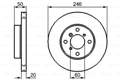 Вентилируемый тормозной диск на SUZUKI LIANA 'BOSCH 0 986 478 841'.