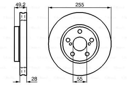 Вентилируемый тормозной диск на TOYOTA CARINA 'BOSCH 0 986 478 858'.