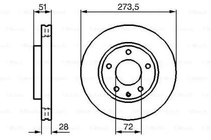Вентилируемый тормозной диск на MAZDA XEDOS 9 'BOSCH 0 986 479 016'.