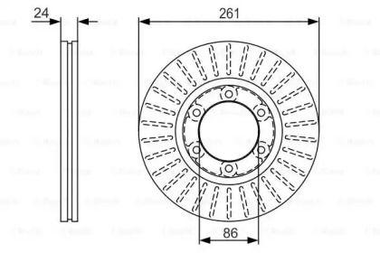 Вентилируемый тормозной диск на Киа К2500 'BOSCH 0 986 479 053'.