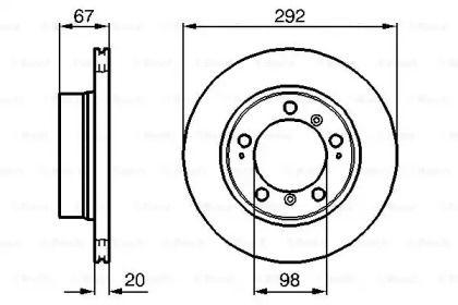Вентилируемый тормозной диск на Порше Бокстер 'BOSCH 0 986 479 079'.