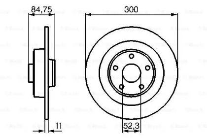 Тормозной диск на Рено Вель Сатис 'BOSCH 0 986 479 083'.