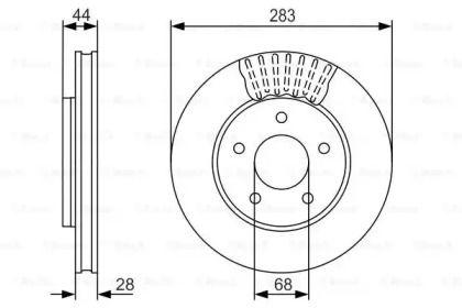 Вентилируемый тормозной диск на NISSAN LEAF 'BOSCH 0 986 479 091'.