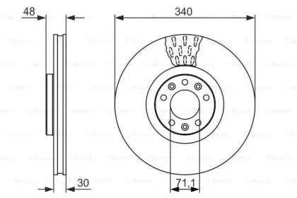 Вентилируемый тормозной диск на Ситроен С6 'BOSCH 0 986 479 092'.
