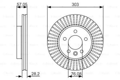 Вентилируемый тормозной диск на Фольксваген Амарок 'BOSCH 0 986 479 154'.