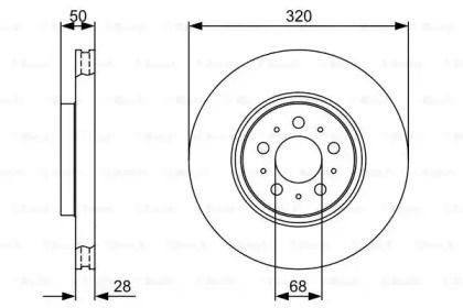 Вентилируемый тормозной диск на VOLVO V70 'BOSCH 0 986 479 321'.