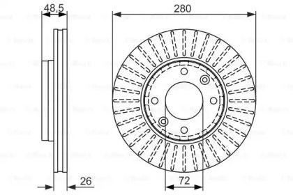 Вентилируемый тормозной диск на KIA CARENS 'BOSCH 0 986 479 353'.