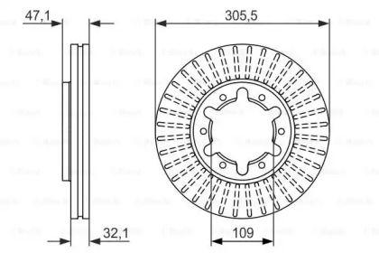 Вентилируемый тормозной диск на NISSAN PATROL 'BOSCH 0 986 479 359'.
