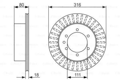 Вентилируемый тормозной диск на Ниссан Патрол 'BOSCH 0 986 479 385'.