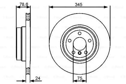Вентилируемый тормозной диск на BMW X6 'BOSCH 0 986 479 443'.