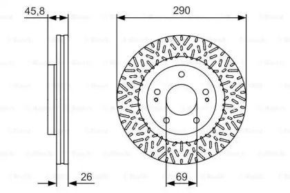 Вентилируемый тормозной диск на MITSUBISHI GRANDIS 'BOSCH 0 986 479 527'.