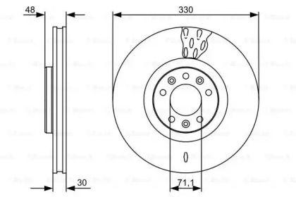 Вентилируемый тормозной диск на CITROEN C6 'BOSCH 0 986 479 529'.