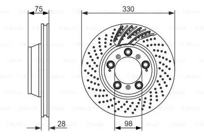Вентилируемый тормозной диск на PORSCHE 911 'BOSCH 0 986 479 581'.