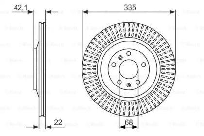 Вентилируемый тормозной диск на Фольксваген Фаетон 'BOSCH 0 986 479 591'.