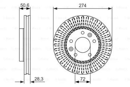 Вентилируемый тормозной диск на Киа Карнивал 'BOSCH 0 986 479 599'.