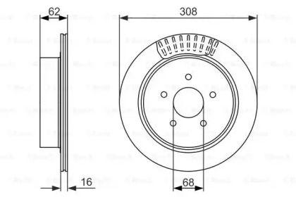 Вентилируемый тормозной диск на INFINITI FX 'BOSCH 0 986 479 606'.