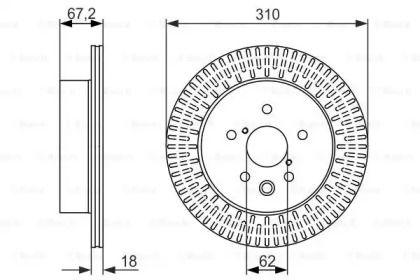 Вентилируемый тормозной диск на LEXUS IS 'BOSCH 0 986 479 615'.