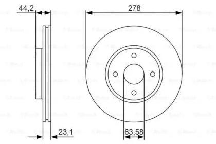 Вентилируемый тормозной диск на FORD B-MAX 'BOSCH 0 986 479 659'.