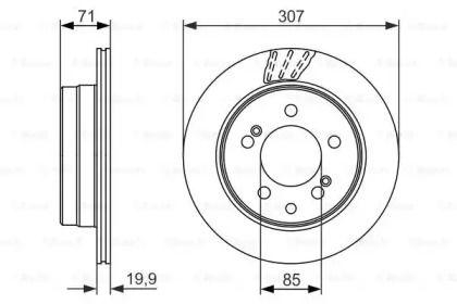 Вентилируемый тормозной диск на Санг Йонг Родиус 'BOSCH 0 986 479 665'.