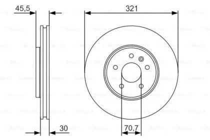 Вентилируемый тормозной диск на OPEL CASCADA 'BOSCH 0 986 479 667'.