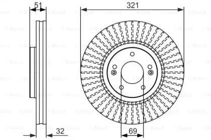 Вентилируемый тормозной диск на Хендай Ай икс 55 'BOSCH 0 986 479 692'.