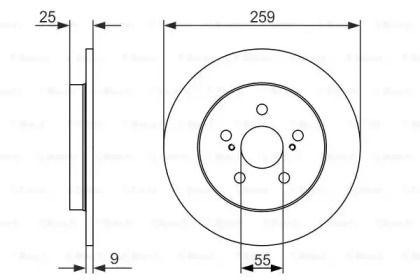 Тормозной диск на TOYOTA PRIUS 'BOSCH 0 986 479 721'.