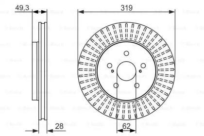 Вентилируемый тормозной диск на Тайота Хайлендер 'BOSCH 0 986 479 722'.