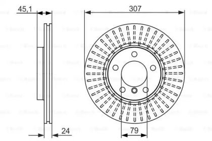 Вентилируемый тормозной диск на Мини Каутриман 'BOSCH 0 986 479 726'.