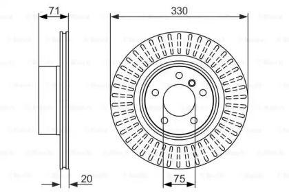 Вентилируемый тормозной диск на BMW X4 'BOSCH 0 986 479 727'.