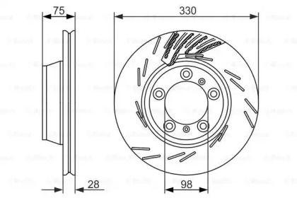 Вентилируемый тормозной диск на PORSCHE PANAMERA 'BOSCH 0 986 479 732'.