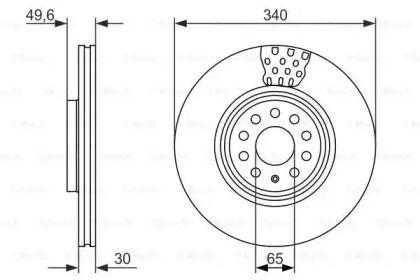 Вентилируемый тормозной диск на VOLKSWAGEN TIGUAN ALLSPACE 'BOSCH 0 986 479 734'.