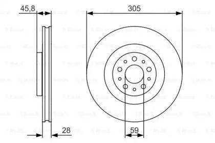 Вентилируемый тормозной диск на Фиат 500Л 'BOSCH 0 986 479 736'.