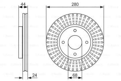 Вентилируемый тормозной диск на Ниссан Куб 'BOSCH 0 986 479 737'.