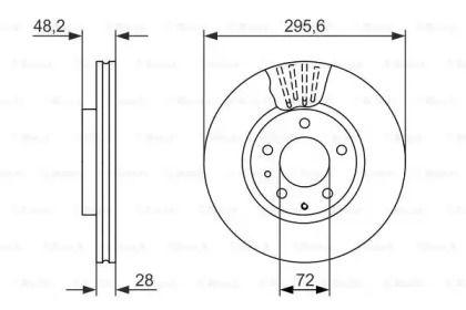 Вентильований гальмівний диск на Мазда СХ7 BOSCH 0 986 479 758.
